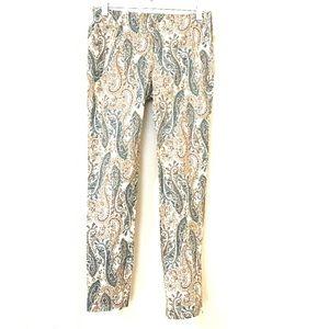 Zara Tan Green Paisley Flat Front Zip Pockets